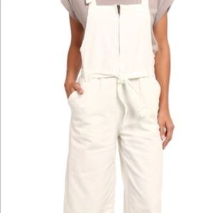 Free people zipper front cropped overalls